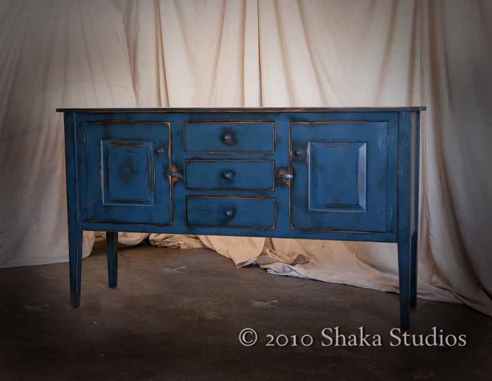 Rustic Blue Tv Stand