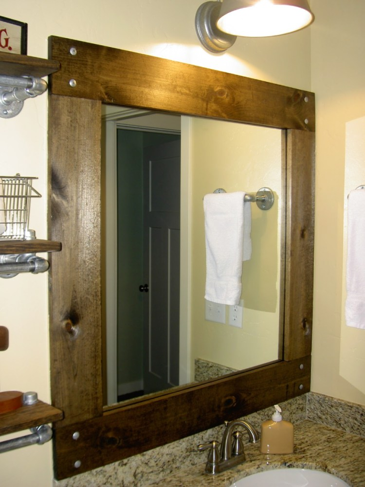 Rustic Wood Bathroom Mirror