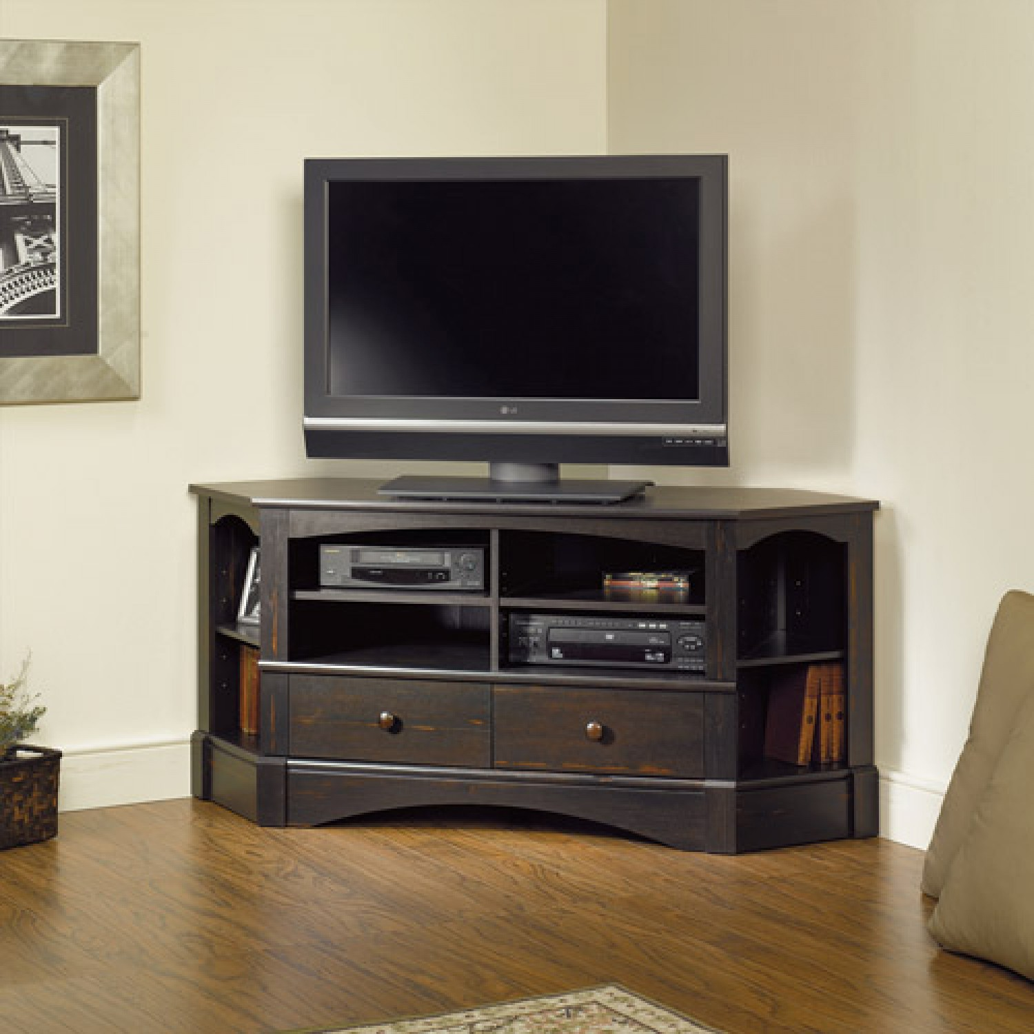 Sauder Harbor View Corner Tv Stand In Antiqued Black