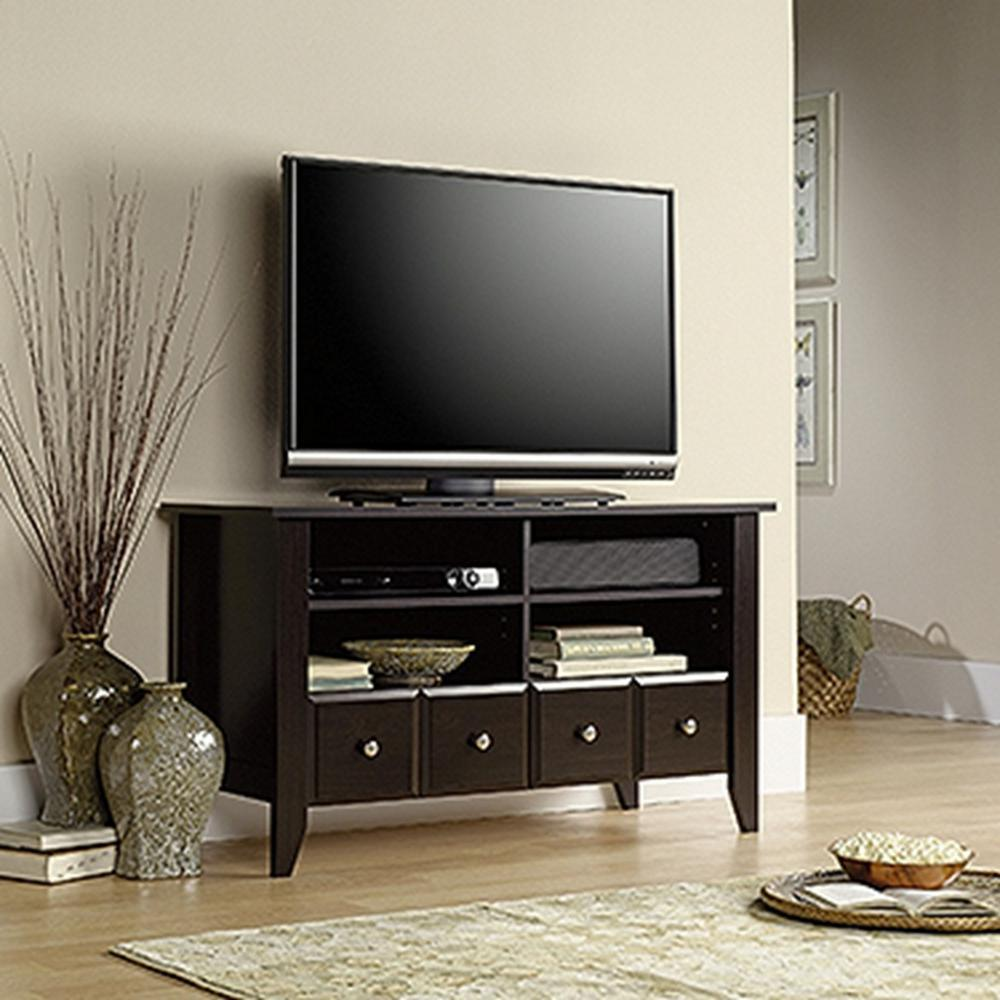 Sauder Shoal Creek Panel Tv Stand Jamocha Wood