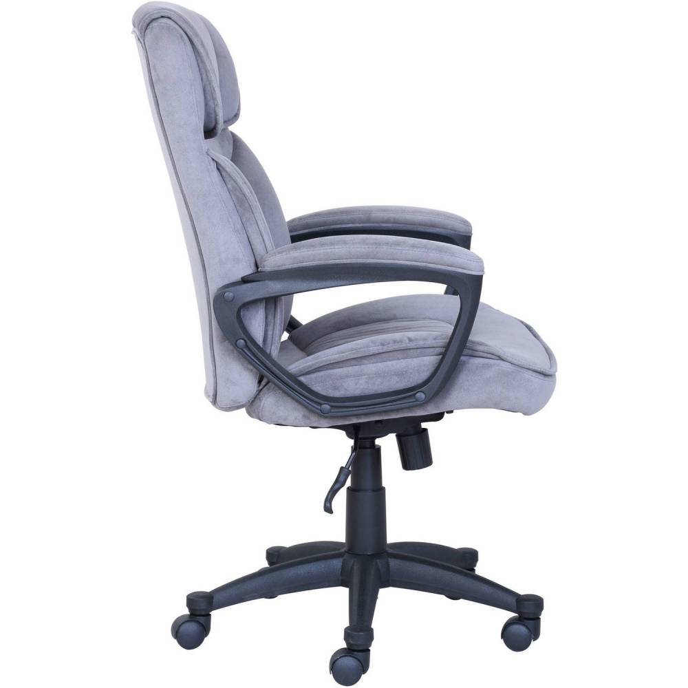 Serta Executive Office Chair In Velvet Gray Microfiber Black Base