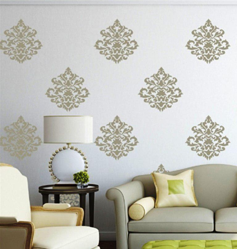 Silver Damask Wall Decals