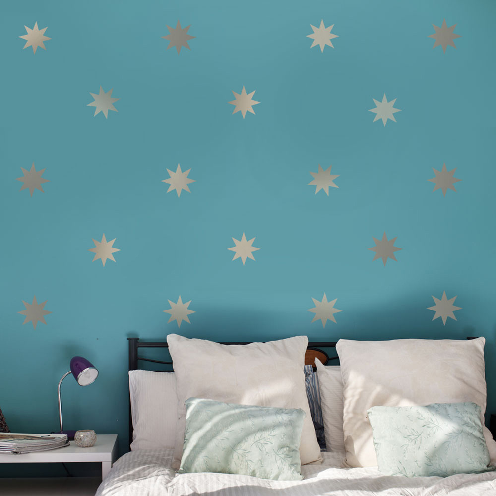 25 Silver Or Gold Metallic 4 Inch 8 Point Star Vinyl Wall Decals