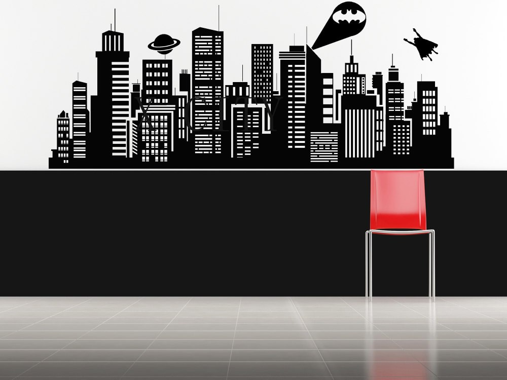 Superhero Skyline Wall Decal