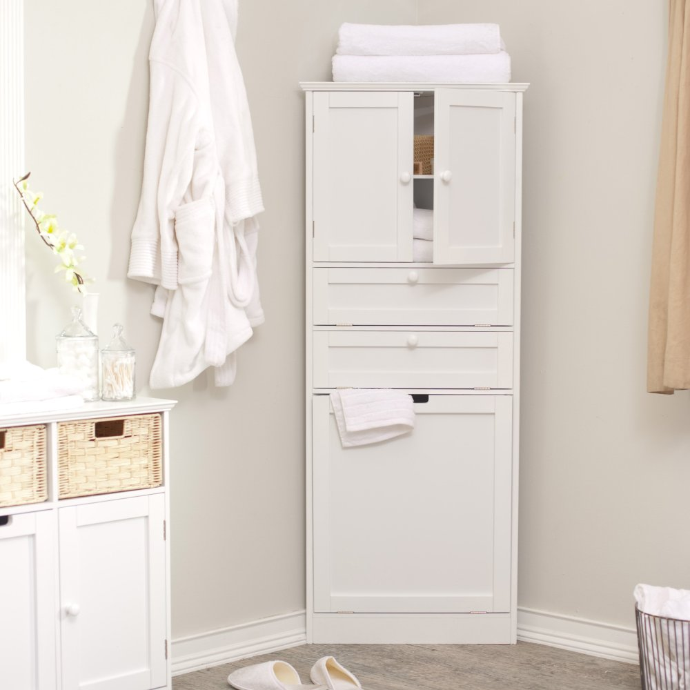 Tall White Bathroom Storage Cabinet
