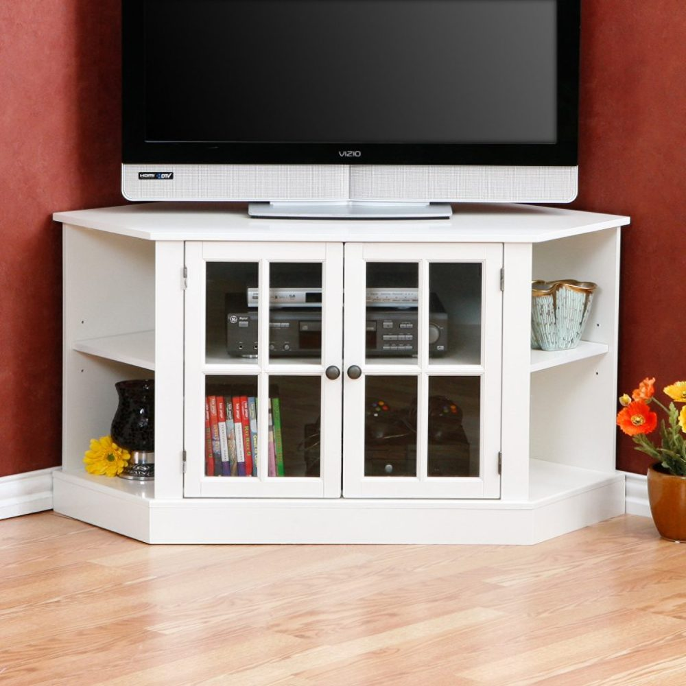 Tall White Corner Tv Stand