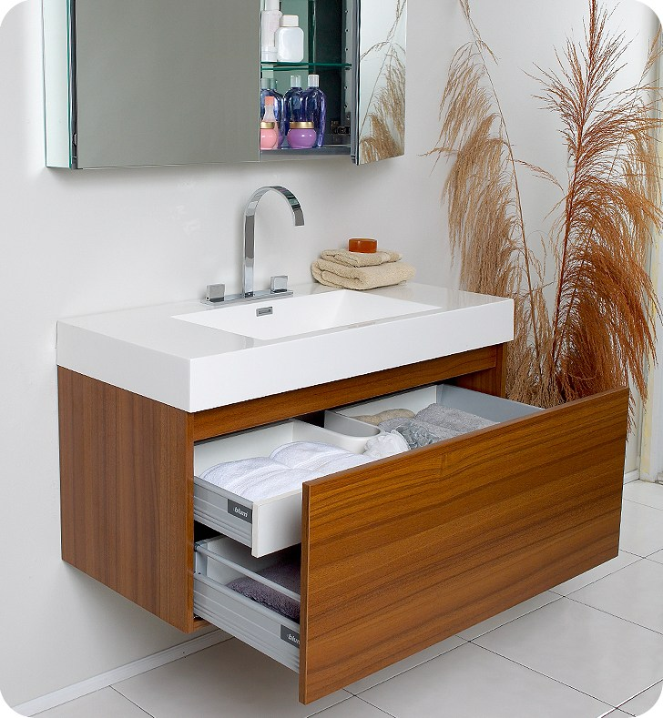 Teak Bathroom Wall Cabinet