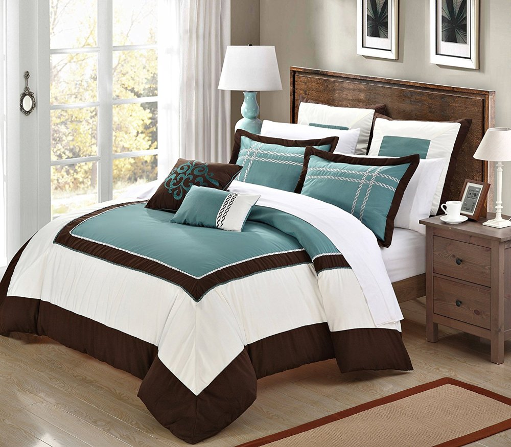 Teal And Brown Comforter Set King