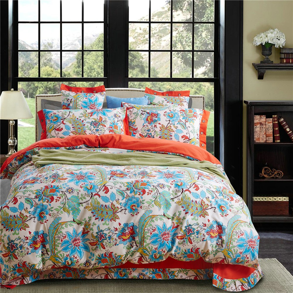 Turquoise And Orange Comforter Set