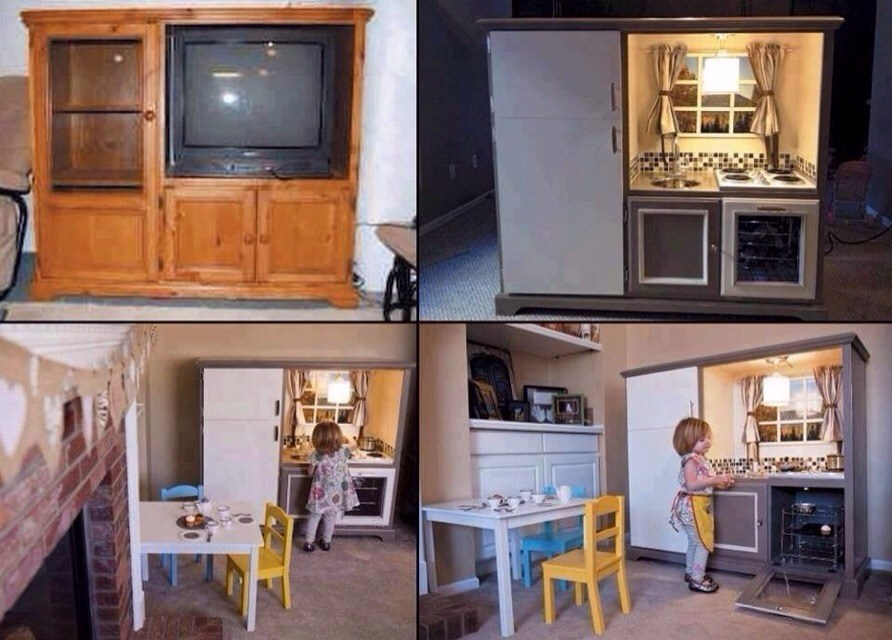 Tv Stand Into Kids Kitchen