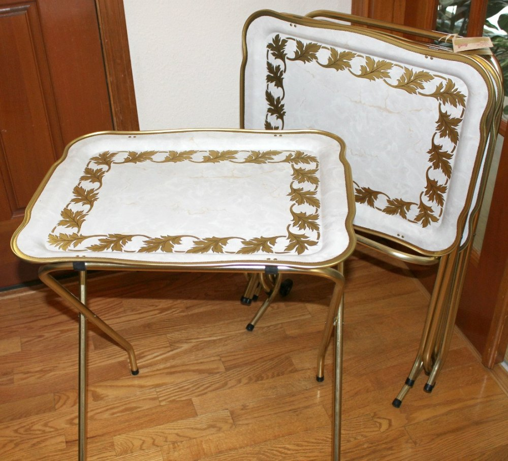 Vintage Tv Trays With Stand