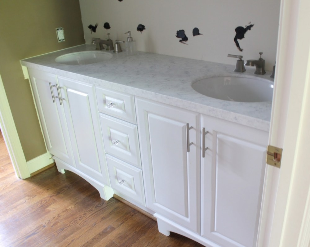White Bathroom Cabinets With Granite