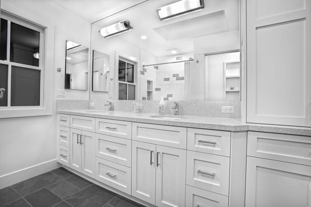 White Bathroom Cabinets With White Countertops