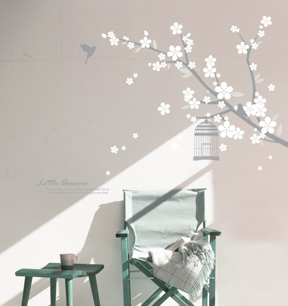 White Cherry Blossom Wall Decal
