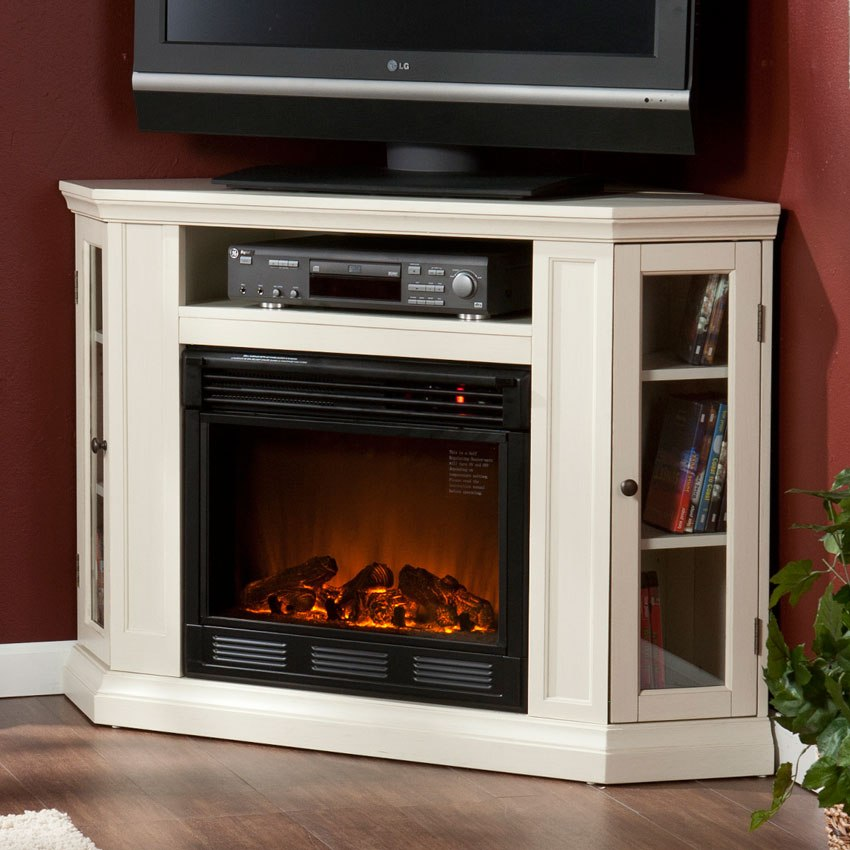 White Corner Fireplace Tv Stand