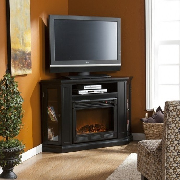 White Corner Tv Stand With Fireplace