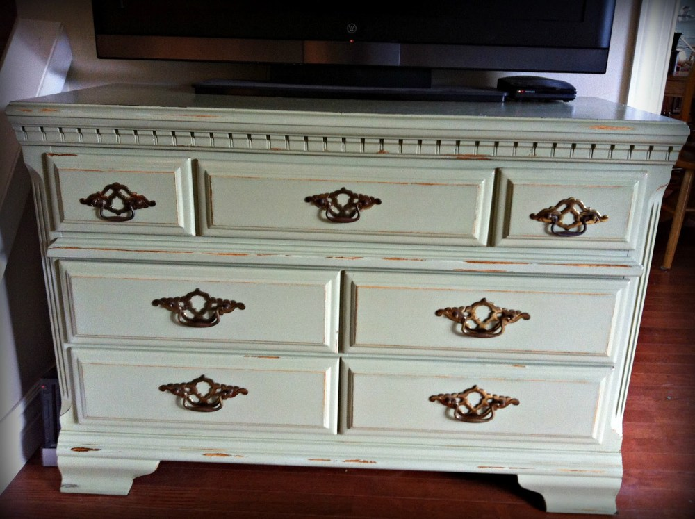 White Distressed Tv Stand