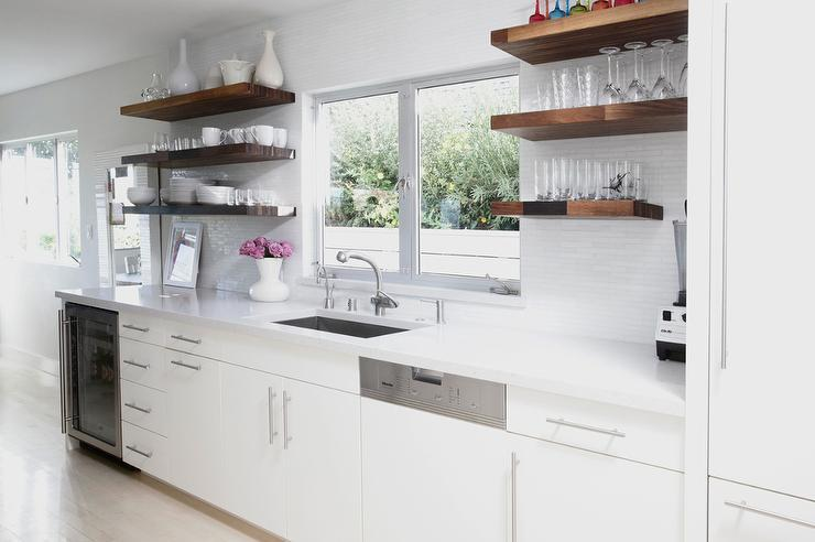 White Floating Kitchen Shelves