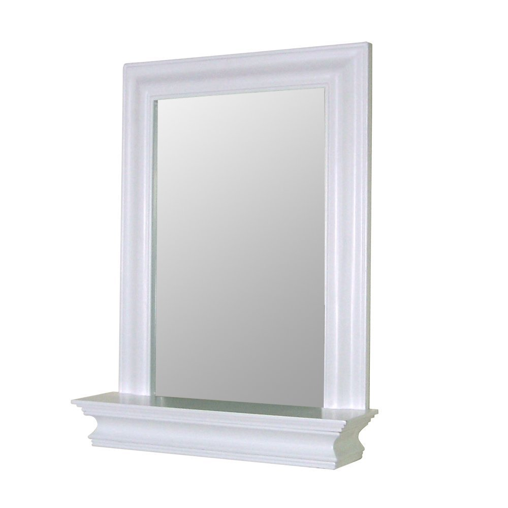 White Framed Bathroom Mirror With Shelf
