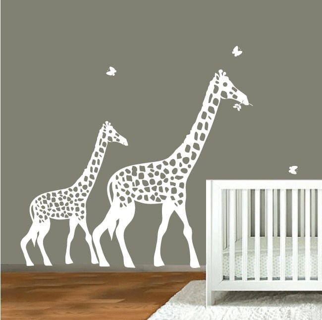 White Giraffe Wall Decal