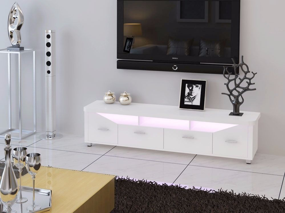 White High Gloss Tv Stand With Led Lights