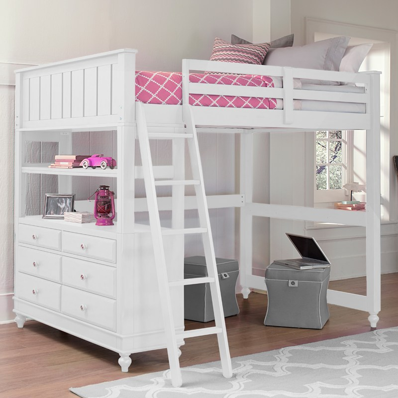 White Kids Loft Bed