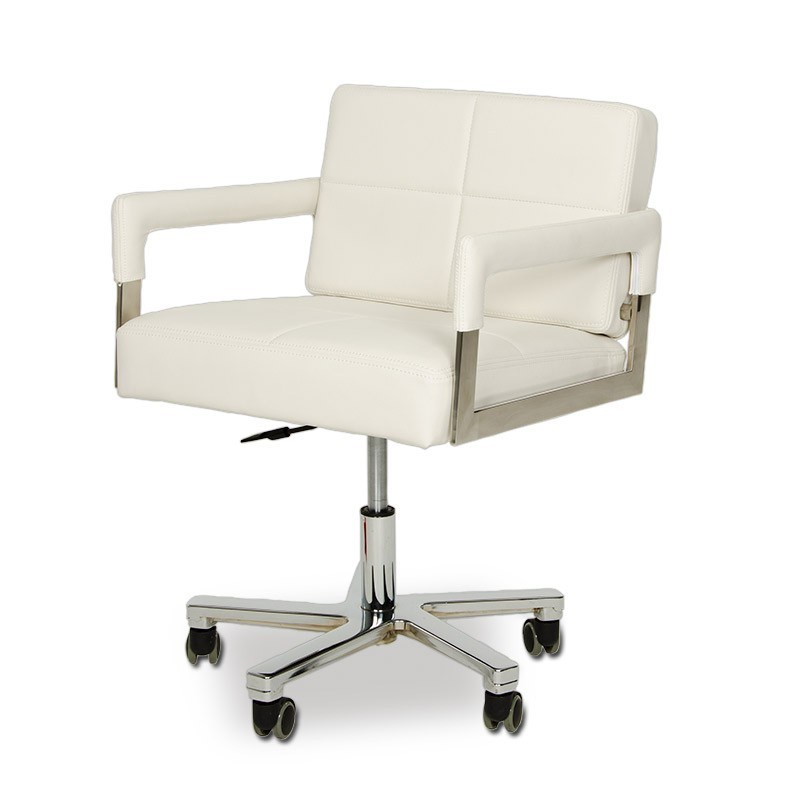 White Leather Office Chair Modern