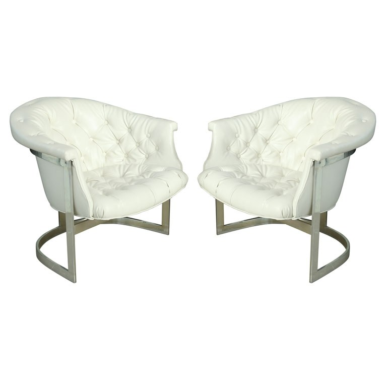 White Leather Tufted Office Chair