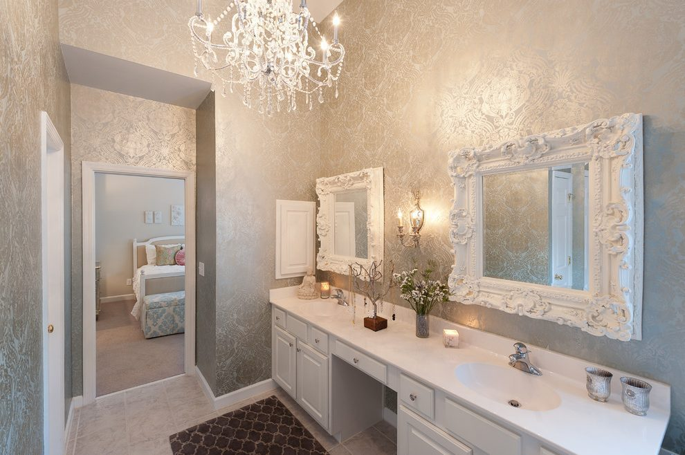White Ornate Bathroom Mirror