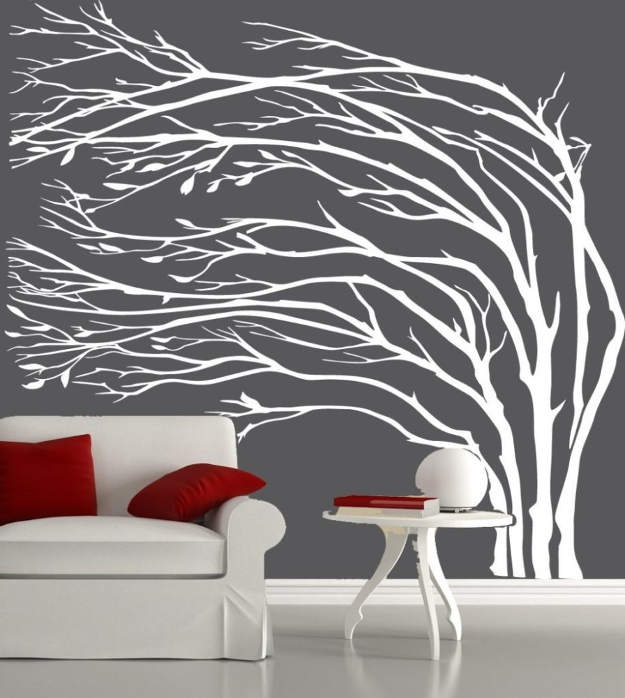 White Silhouette Tree Wall Decal