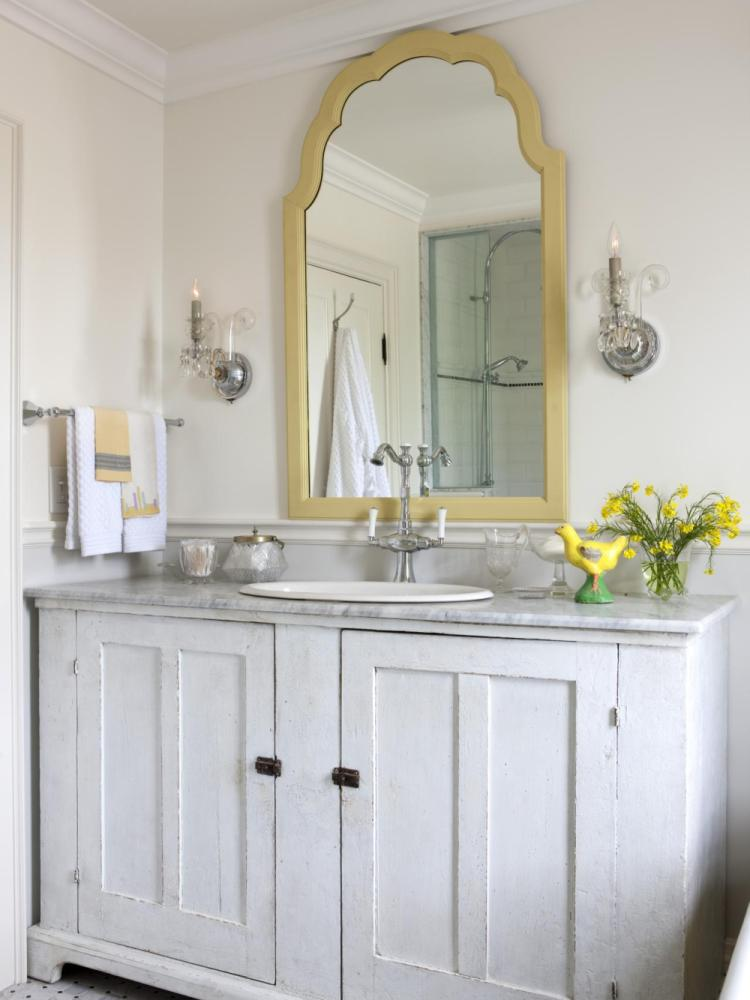 White Trim Bathroom Mirror