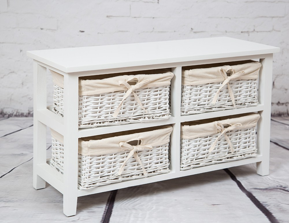 White Tv Stand With Baskets