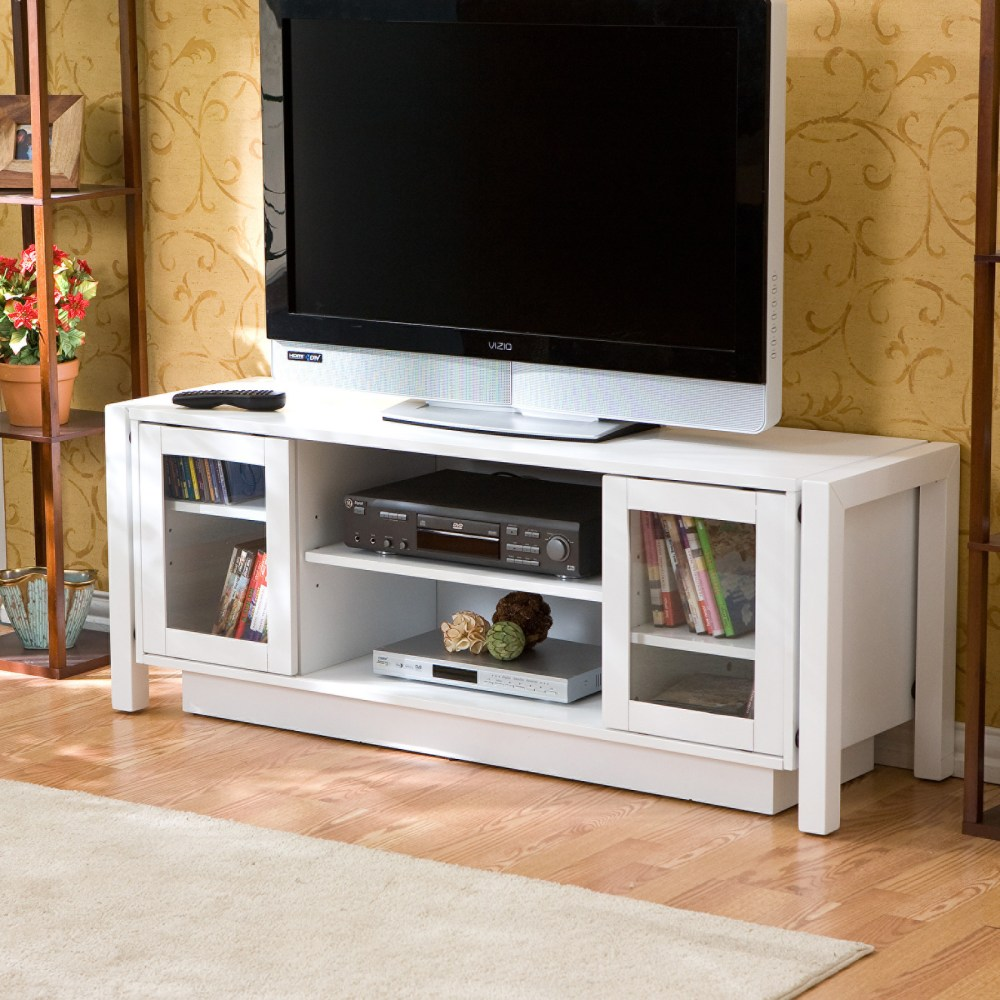 White Wood Shabby Chic Tv Stand Cabinet