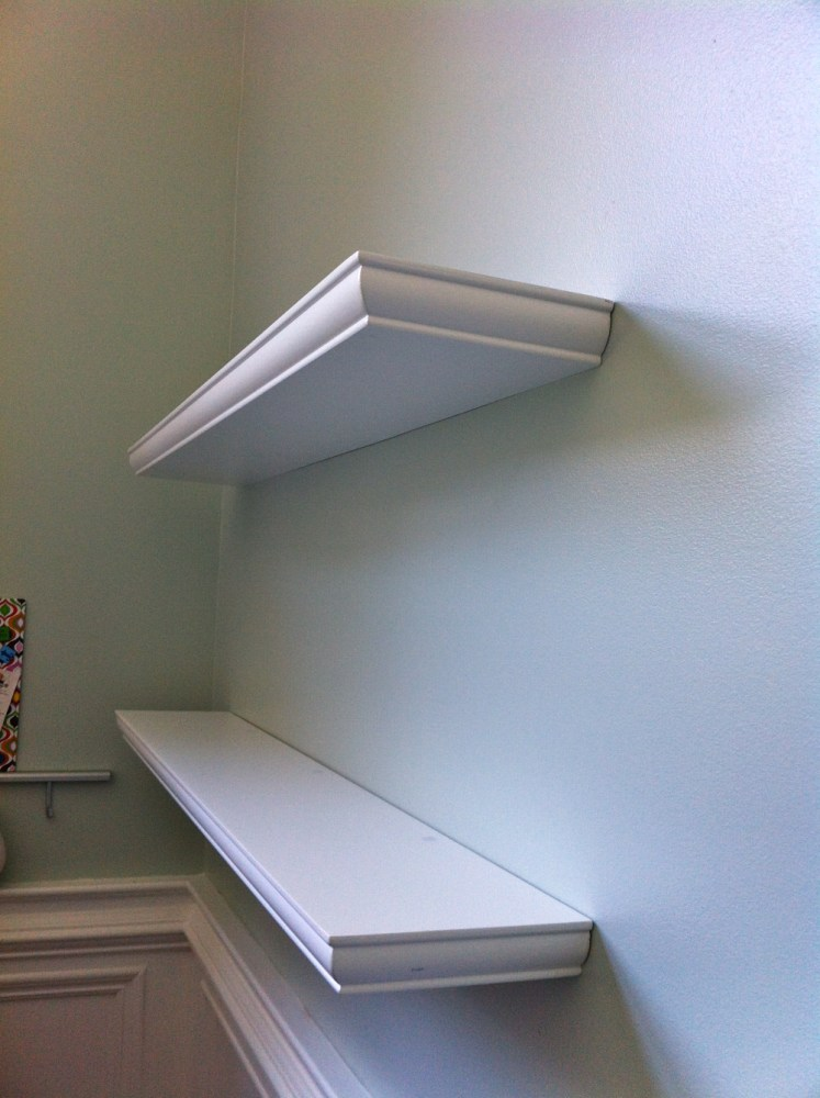 White Wooden Floating Shelves