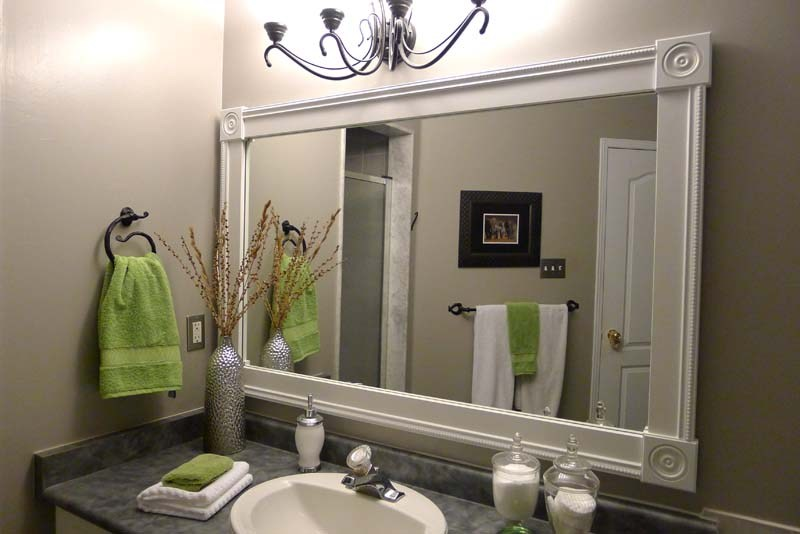 Wood Frame Around Bathroom Mirror