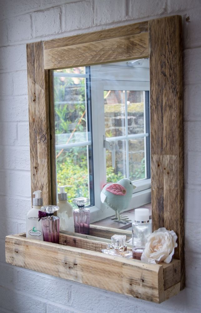 Wooden Bathroom Mirror With Shelf