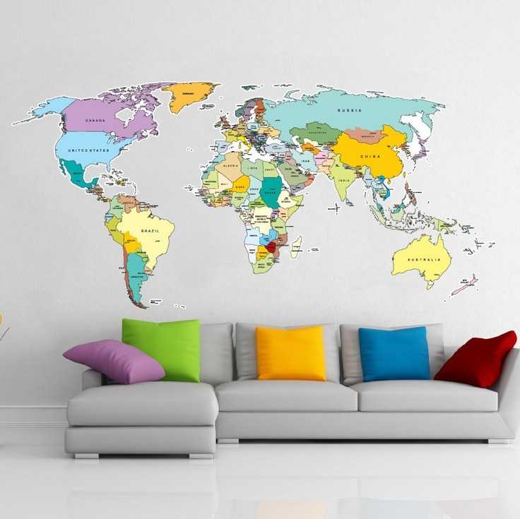 World Map Wall Decal Kids