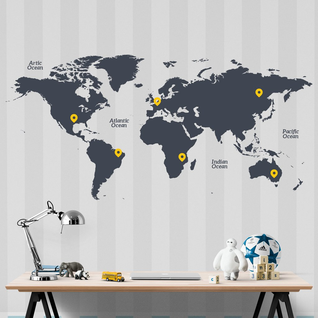 World Map Wall Decal Sticker
