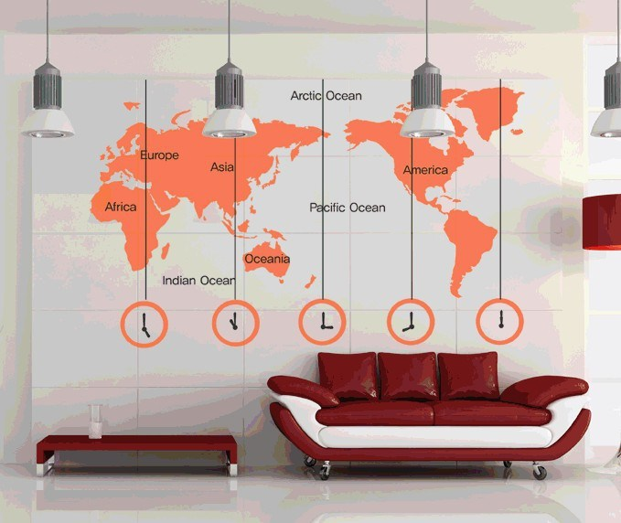 World Map Wall Decal Words