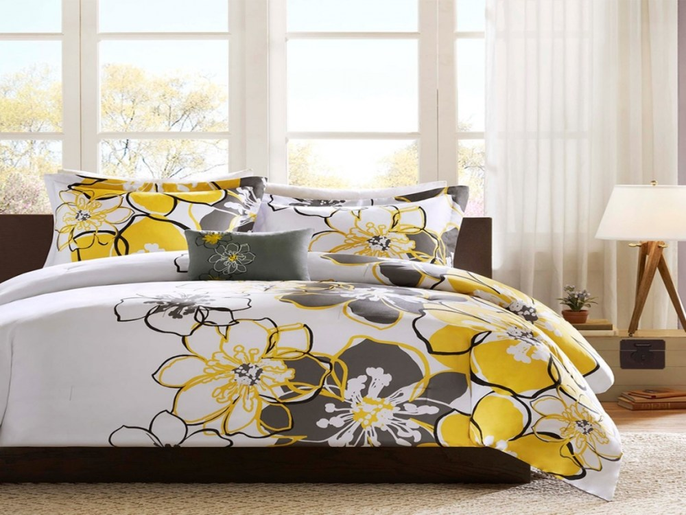 Yellow And Grey Comforter Set
