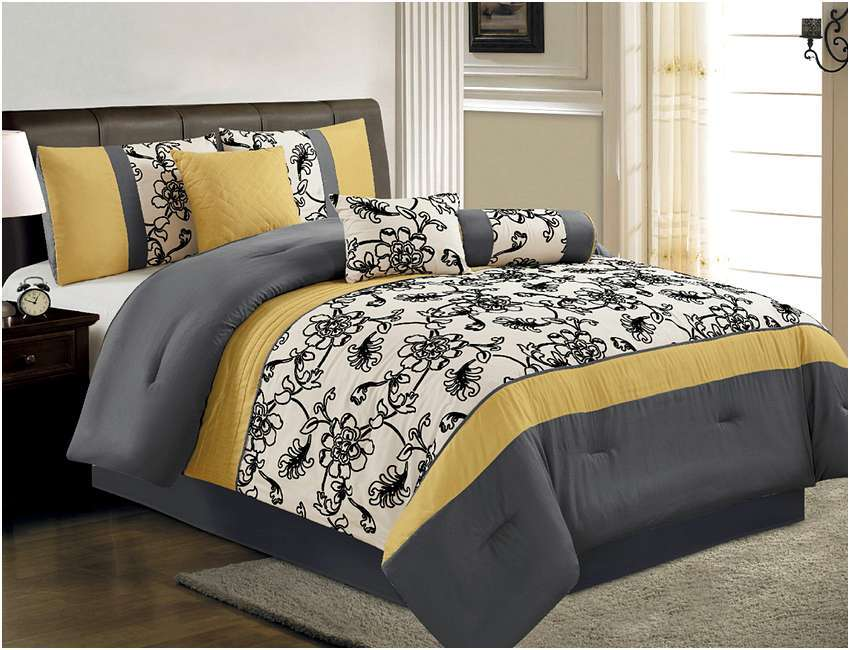 Yellow And Grey Comforter Sets Queen
