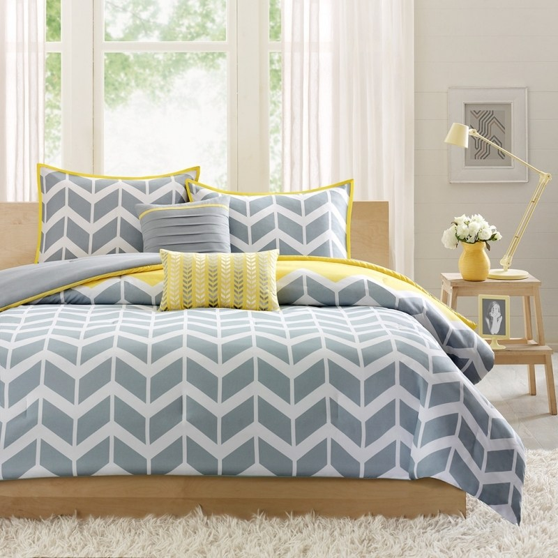 Yellow Grey Comforter Sets