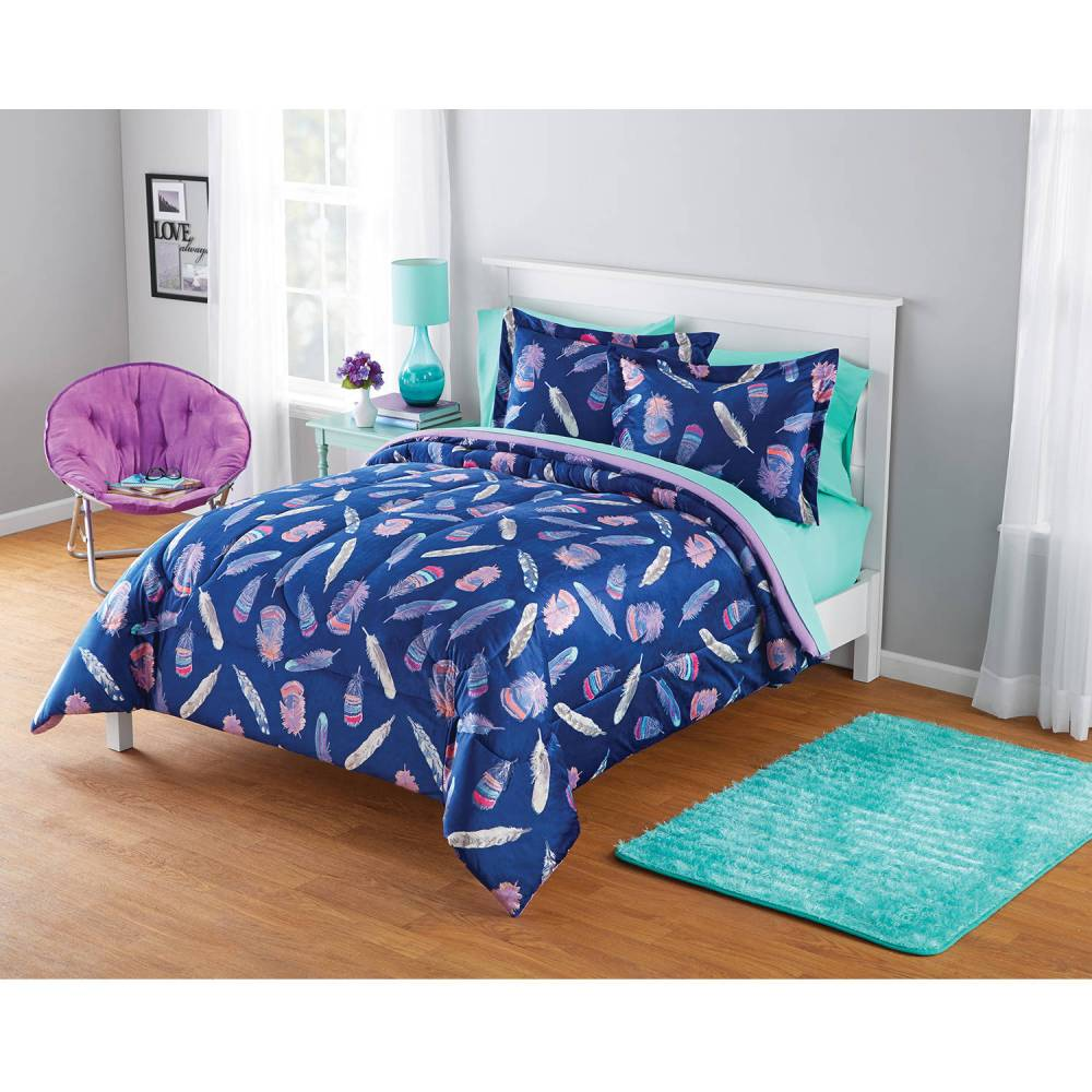 Your Zone Comforter Set Inky Feather Micromink