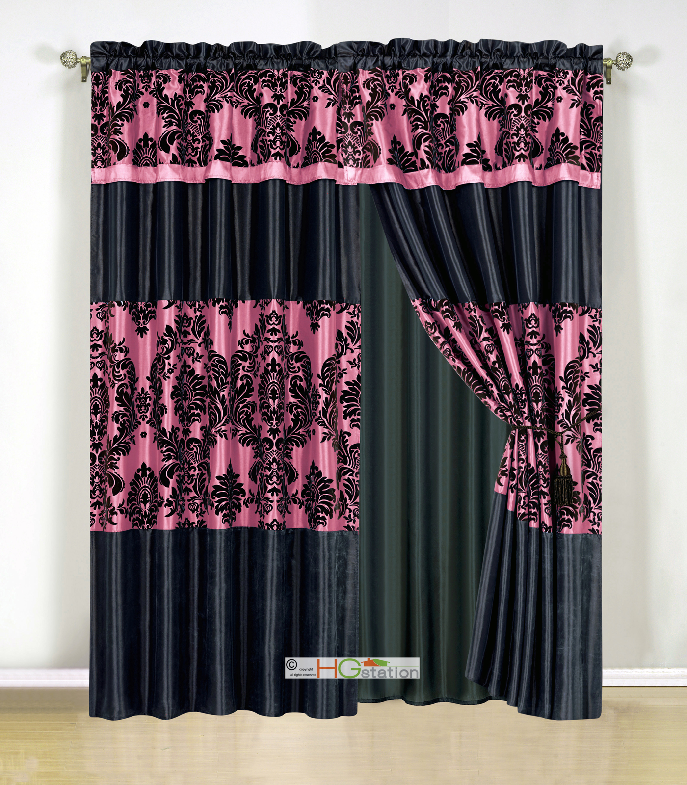 4pc Silky Satin Flocking Damask Striped Curtain Set Hot