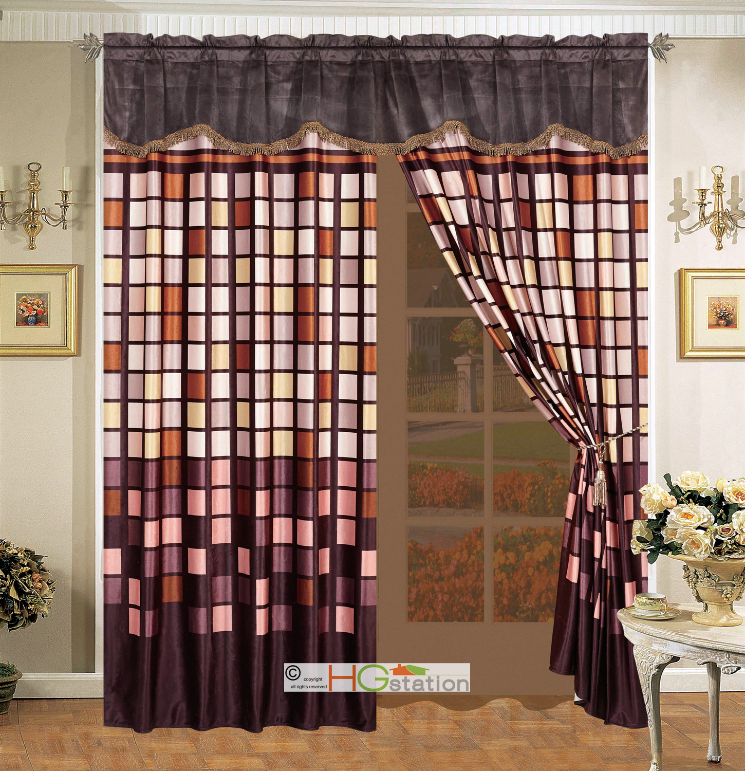 4 Square Patchwork Faux Fur Curtain Set Brown Taupe Tan