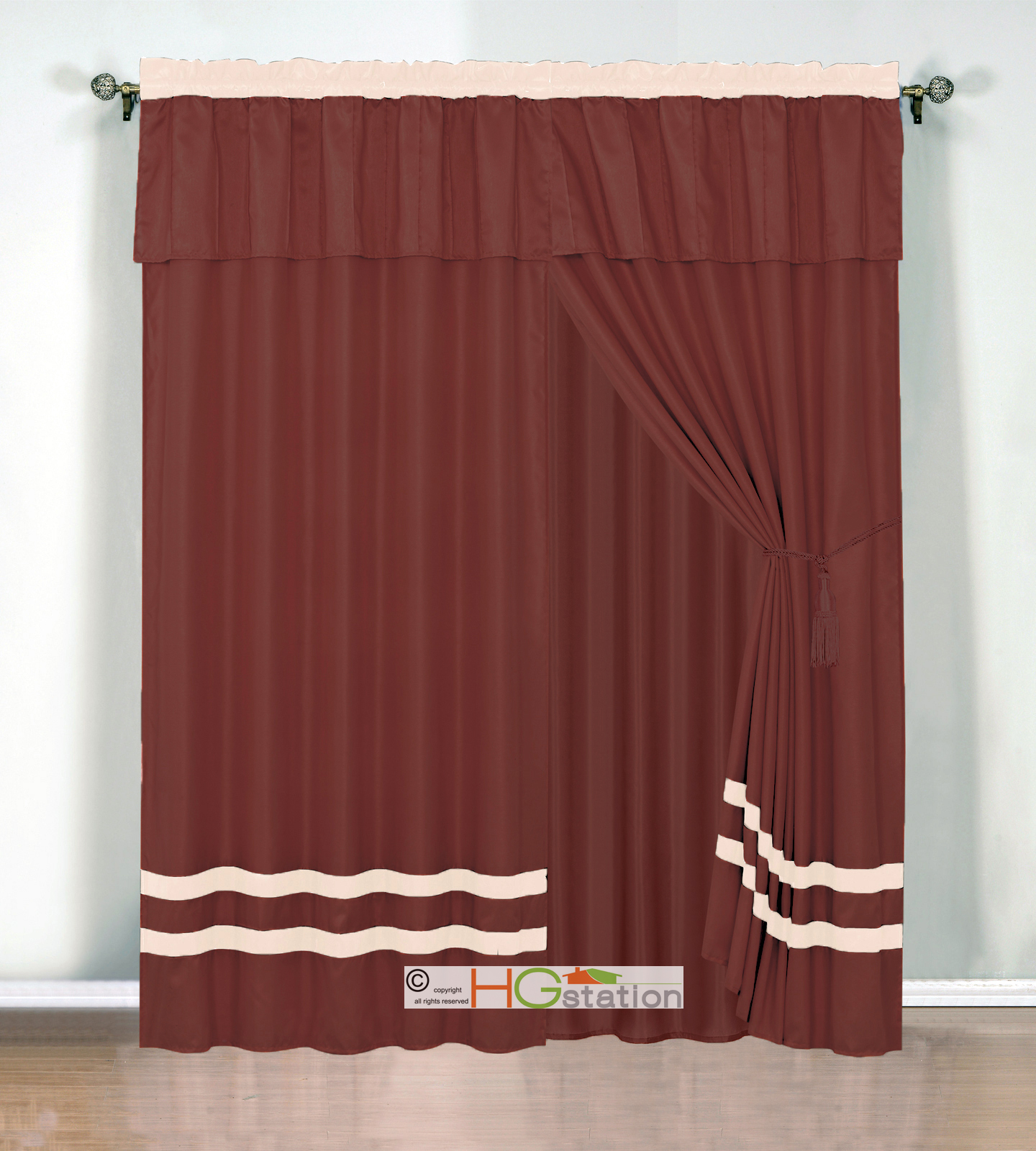 4 Pc Chic Stripe Solid Curtain Set Pleated Valance D