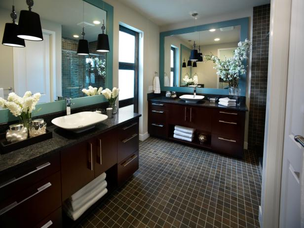Bathroom With Contemporary Wood Vanities Blue Mirrors And