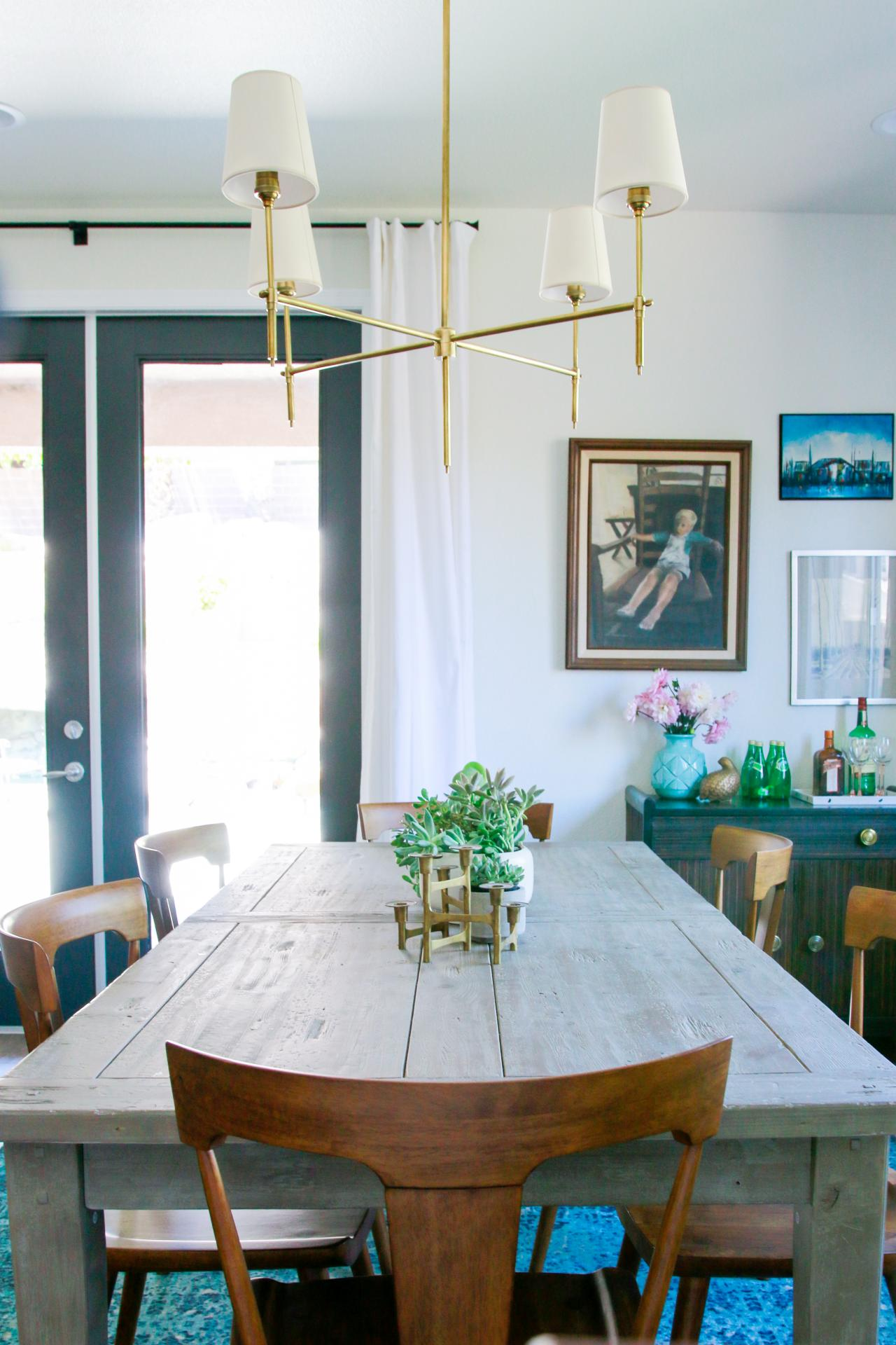 Dining Area Features Gray Farmhouse Table Amp Gold Light