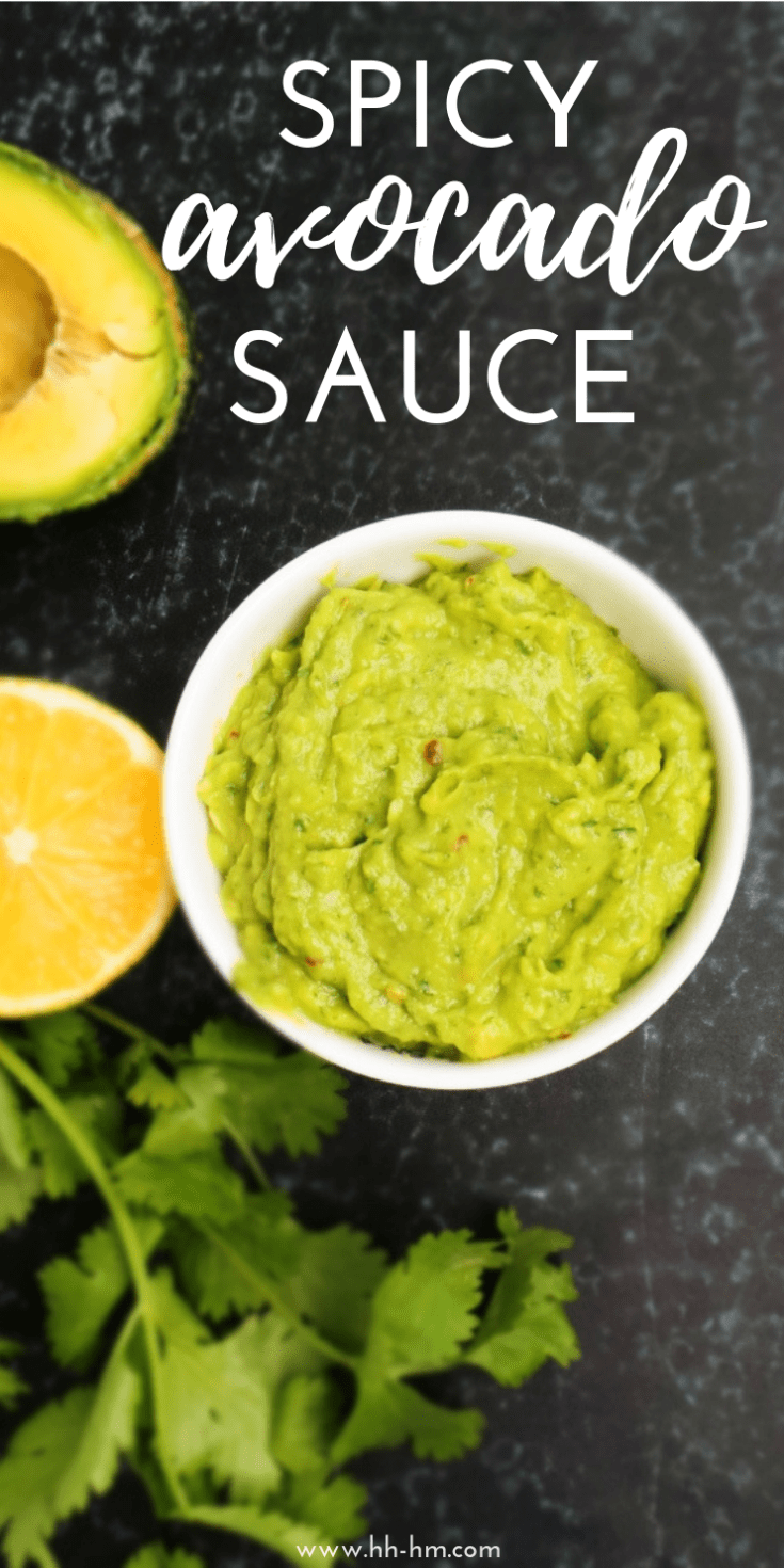 You only need 5 minutes to make this amazing spicy avocado sauce that is vegan, gluten-free and paleo! This tasty healthy avocado recipe is perfect for wraps, burgers or bowls!