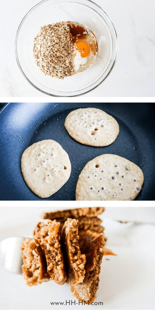 how to make oatmeal pancakes: Easy and healthy oatmeal pancakes - great way to start your mornings! This easy healthy breakfast recipe is simple and loved by toddlers and grown-ups! All you need is a few simple ingredients and 10 minutes to make these delicious nourishing pancakes - oats, an egg, honey + some vanilla! These pancakes are flourless and sugar-free!